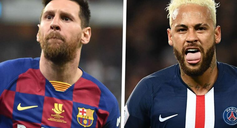 Neymar offers his PSG shirt to Lionel Messi